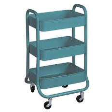 Workspace 3 Tier Trolley Teal