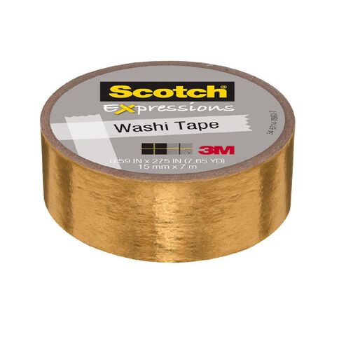 Scotch Washi Tape 15mm x 7m Foil Gold