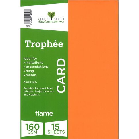 Trophee Card 160gsm 15 Pack Flame Red A4