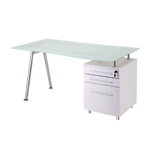 Workspace 3 Drawer Glass Desk