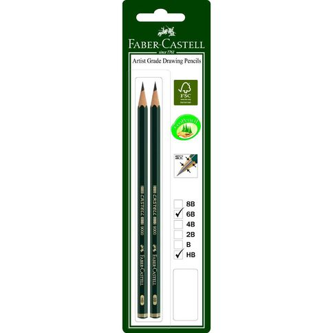 Faber-Castell 9000 Pencil 2 Pack 6B And HB Black