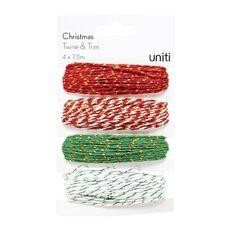 Uniti Christmas Twine & Trim (4 x 7.3m) 4 Pack