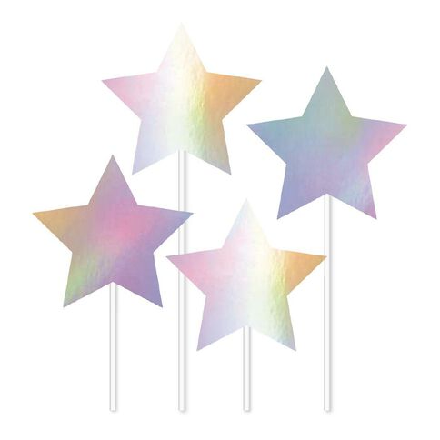 Artwrap Iridescent Stars Cake Toppers 4 Pack