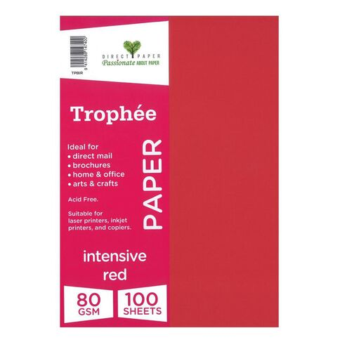 Trophee Paper 80gsm 100 Pack Intensive Red A4