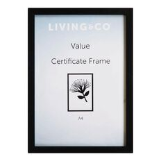 Living & Co Value Certificate Frame Black A4