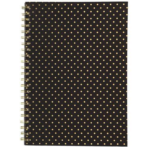 Uniti Black&Gold Spiral Notebook Polka Dot A4