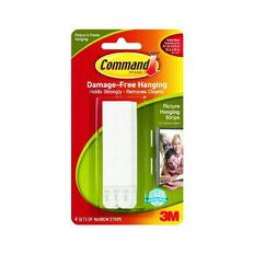 Command Narrow Picture Hanging Strips 4 Sets/Pack White