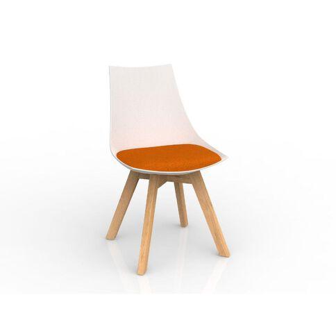 Luna White Sunset Orange Oak Base Chair