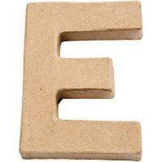 Paper Mache Alphabet Small Symbol E 10cm Brown