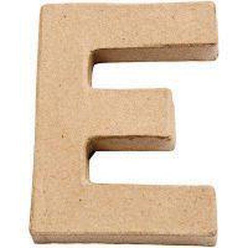 Paper Mache Alphabet Small Symbol E 10cm Brown