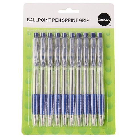 WS Ball Pens Sprint Grip 10 Pack Blue