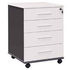 Workspace Office Brand Mobile 4 Drawer White White