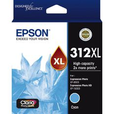 Epson Ink 312XL Cyan Ink Claria Photo HD (830 Pages)