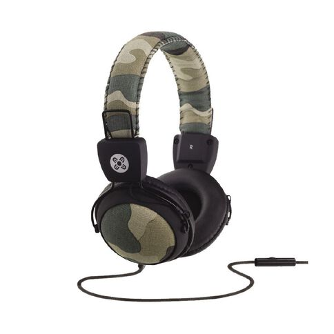 Moki Camo In-Line Mic Headphones Green