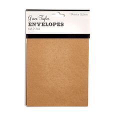Grace Taylor Envelopes 15 x 10cm 25 Pack Plain Kraft Brown