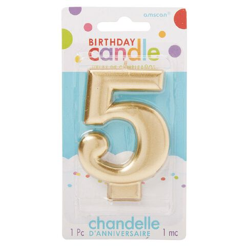 Candle Metallic Numeral #5 Gold