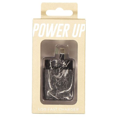 USB Wall Charger 2.4A Midas Touch Black Marble