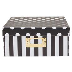 Uniti Black&Gold Storage Box Black/White Stripes