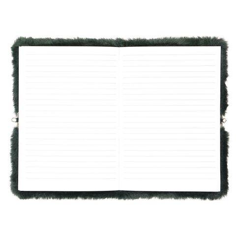 Kookie Chomp Fur Notebook With Lock Dark Green A5
