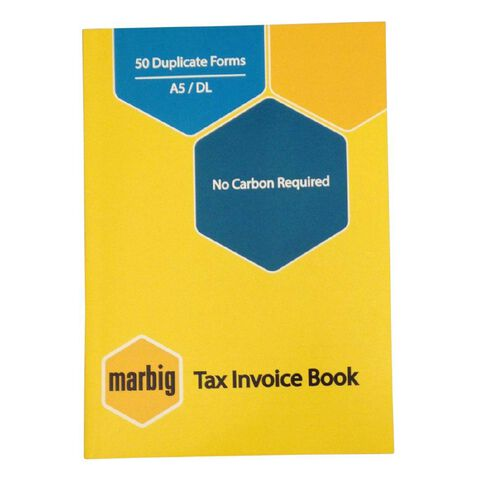 Marbig Invoice Book Duplicate 50 Leaf Yellow A5