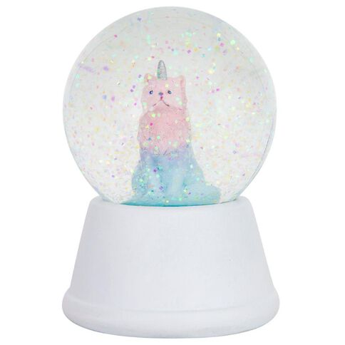 Kookie Unicorn Cat Snow Globe