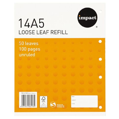 Impact Pad Refill 14A5 Blank 50 Leaf Punched Orange
