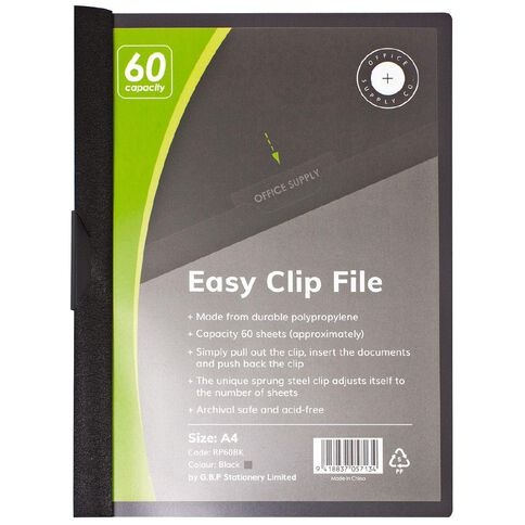 Office Supply Co Easy Clip File 60 Capacity Black A4