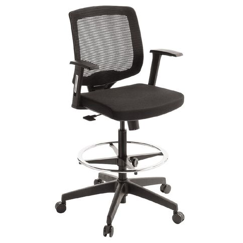 Eden Media Lite Mesh Back Tech Chair with Arms and Footring Black