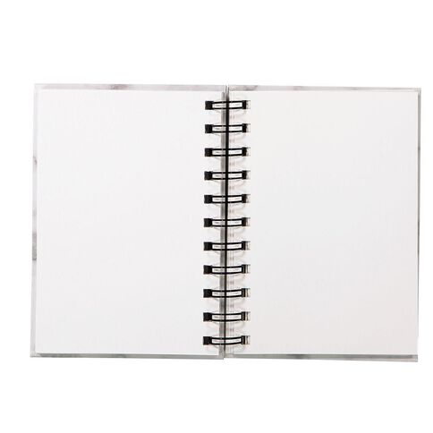 Uniti Visual Diary Spiral Marble White 110gsm 60 Sheet A6