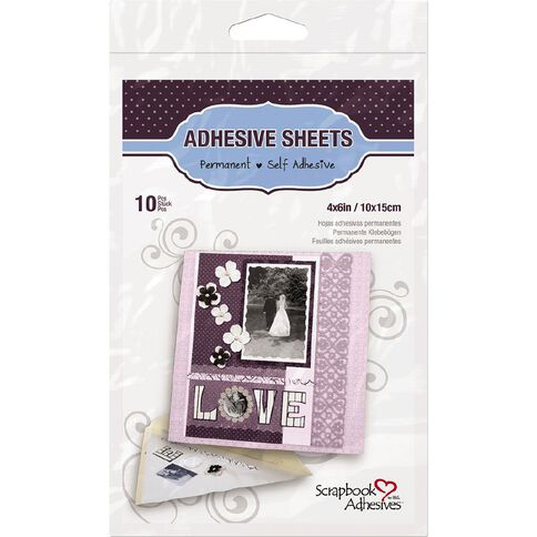 3L Scrapbook Adhesives Double Sided Sheets 10 x 15cm 10 Pack Clear