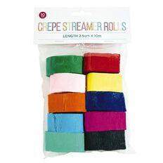 Crepe Streamer Rolls 2.5cm x 10m 10 Pack Multi-Coloured