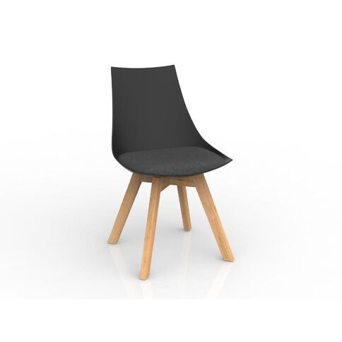 Luna Black Charcoal Grey Oak Base Chair Black