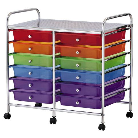Workspace 12 Draw Chrome Trolley Multi-Coloured