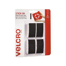 VELCRO Brand Hook & Loop Stick On Strips 25mm x 50mm 6 Strips Black