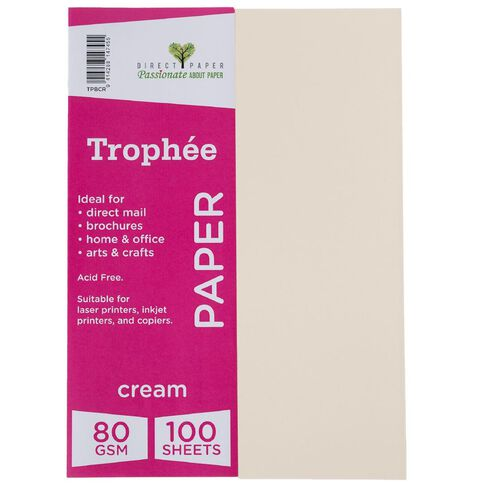 Trophee Paper 80gsm 100 Pack Cream A4