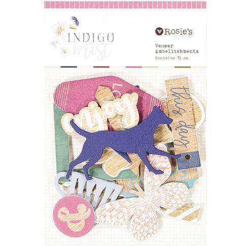 Rosie's Studio Indigo Mist Veneer Embellisments 15 Piece