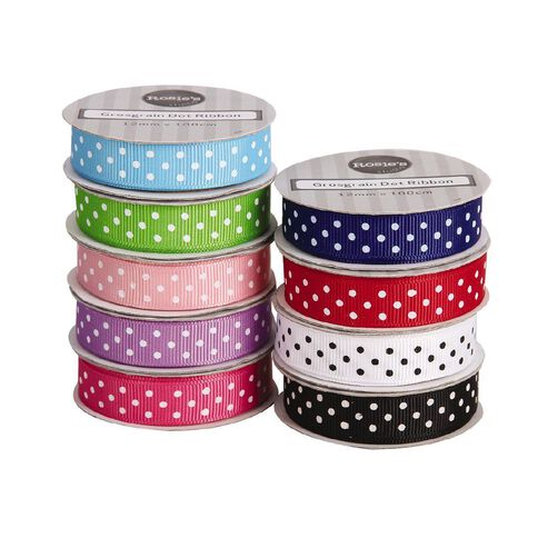 Rosie's Studio Crossgrain Dot Ribbon 1m x 12mm Assorted Assorted