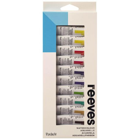 Reeves Water Colour Paint Set 12ml 12 Pack Multi-Coloured 12 Pack