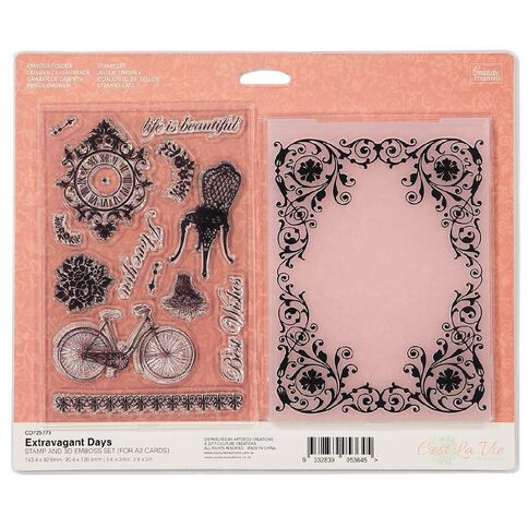 Couture Creations Cest La Vie Extravagant Days Stamp and Emboss Set