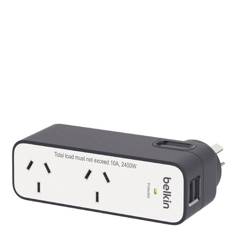 Belkin International Travel Surge Protector Dual 2.4A USB Ports