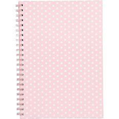 Uniti Tropical Spiral Notebook Pink/White Polka Dot A4