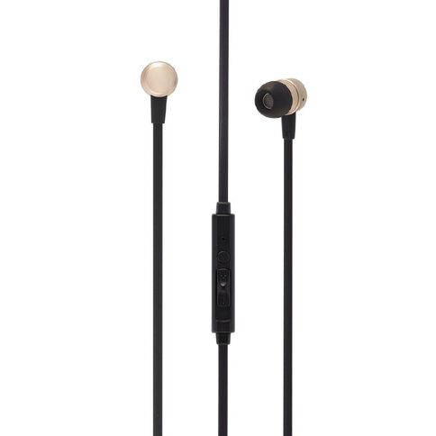Tech.Inc Metallic Earbuds with Mic and Volume Control Champagne
