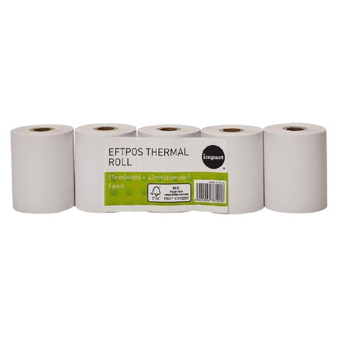 WS Eftpos Roll 57 x 47mm Thermal 5 Pack FSC Paper