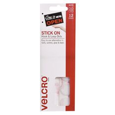 VELCRO Brand Hook & Loop Handy Dots 22mm 12 Set White