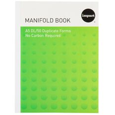 Impact Manifold Book Feint Ruled Duplicate Green A5