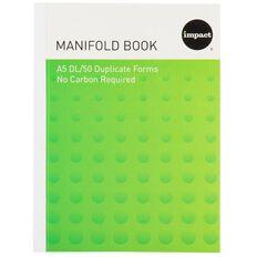 Impact Manifold Book Feint Ruled Duplicate Green A5