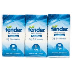 Tender Tender Facial Tissues 10s Pocket 6 Pack