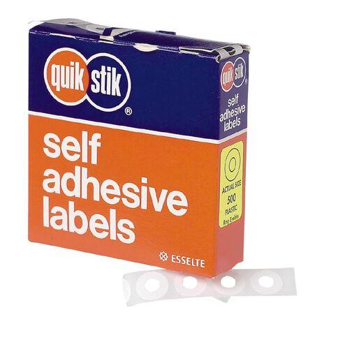 Quik Stik Labels Ring Eyelets 500 Pack White
