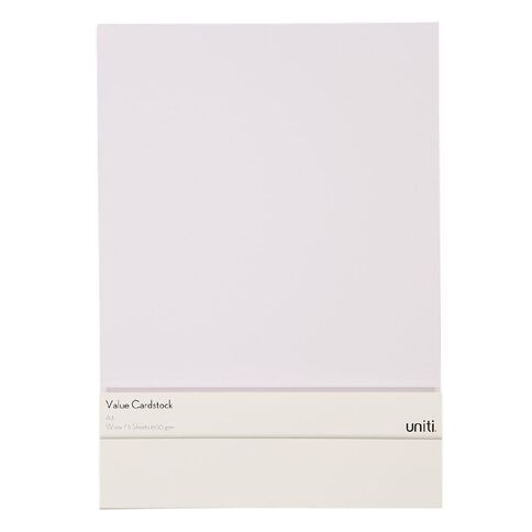 Uniti Value Cardstock A3 600gsm 5 Sheets White