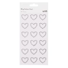 Uniti Bling Stickers Hearts 18 Pack